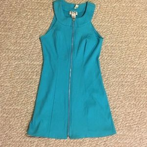 Vintage 5-7-9 turquoise zipper dress